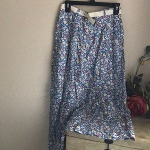 Orvis Floral Belted Rayon Long Skirt Size 10